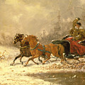 Returning Home In Winter by Charles Ferdinand De La Roche