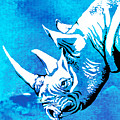 Rhino Animal Decorative Blue Poster 1 - By  Diana Van by Diana Van