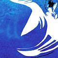 Rhino Animal Decorative Blue Poster 4 - By Diana Van by Diana Van