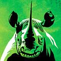Rhino Animal Decorative Green Poster 5 - By Diana Van by Diana Van