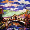 Rialto Bridge Venice Oil Painting by Ginette Callaway
