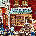 Richstone Bakery Montreal Memories Borden's Milk Truck Street Hockey Art Carole Spandau              by Carole Spandau
