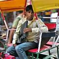 Rikshaw Rider - New Delhi India by Kim Bemis