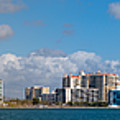 Ringling Causeway Sarasota Skyline West View by Rolf Bertram