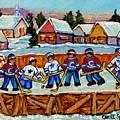 Rink Hockey Game In The Country Winter Village Snowscene Canadian Landscape C Spandau Quebec Artist  by Carole Spandau