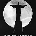 Rio De Janeiro Landmark Black by Naxart Studio
