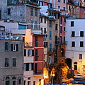Riomaggiore Buildings Panorama In Cinque Terre  by Songquan Deng