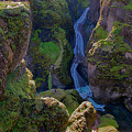 River And Green Canyons In Iceland by Dave Dilli