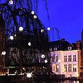 River Dijver, Rozenhoedkaai Area At Night, Bruges City by Dave Porter