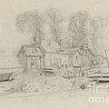 River Landscape With Buildings, Boats, And Figures by Eug?ne Boudin