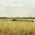 River Landscape With Cornfield by Pierre Emmanuel Eugene Damoye