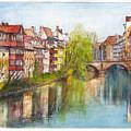 River Pegnitz In Nuremberg Old Town Germany by Dai Wynn