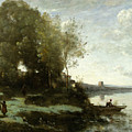 River With A Distant Tower by Jean-Baptiste-Camille Corot