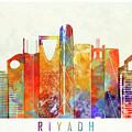 Riyadh Landmarks Watercolor Poster by Pablo Romero