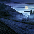 Road Near Foggy Forest In Mountains At Night by Michael Pelin