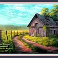 Road On The Farm Haroldsville L A With Decorative Ornate Printed Frame.  by Gert J Rheeders