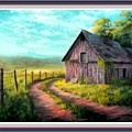 Road On The Farm Haroldsville L B With Alt. Decorative Ornate Printed Frame.   by Gert J Rheeders