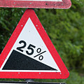 Road Sign Warning Of A 25 Percent Incline. by Richard Wareham