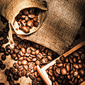 Roasted Coffee Beans In Drawer And Bags On Table by Jorgo Photography - Wall Art Gallery
