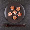 Roasted Shrimps Served On Plate by Ipolyphoto Art