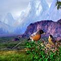 Robin Feeding Baby Robin by John Junek