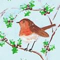 Robin In A Holly Bush by Karen Jane Jones