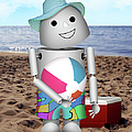 Robo-x9 At The Beach by Gravityx9 Designs