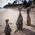 Rock Art Installation On Laguna Beach by Randall Nyhof