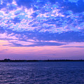 Rockaway Point Dock Sunset Violet Orange by Maureen E Ritter