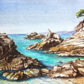 Rocks At Kalamaki by Yvonne Ayoub