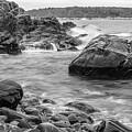 Rocky Coast Of Maine In Bw by Doug Camara
