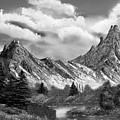 Rocky Mountain Tranquil Escape In Black And White by Claude Beaulac