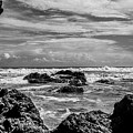 Rocky Waters In Bw by Tina Ernspiker