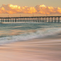 Rodanthe Fishing Pier Sunset On The Outer Banks In Carolina Panorama by Ranjay Mitra