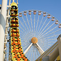 Roller Coaster And Ferris Wheel by Anthony Totah