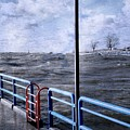 Rolling Waves In Winter At Grand Haven by Michelle Calkins