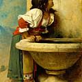 Roman Girl At A Fountain by Leon Bonnat