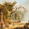 Romantic Garden Scene by Hubert Robert