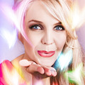 Romantic Girl Blowing Heart Kiss To Her Valentine by Jorgo Photography - Wall Art Gallery
