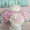 Paris Peonies Floral Books Art - Pink And Aqua Peonies Books Decor - Shabby Chic Peonies  by Kathy Fornal