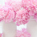 Shabby Chic Pastel Pink Peonies - Pink Peonies In White Mason Jars by Kathy Fornal