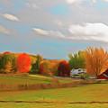 Romantic Skies Autumn Farm by Aimee L Maher ALM GALLERY