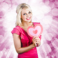 Romantic Woman With Heart Shape Valentine Card by Jorgo Photography - Wall Art Gallery