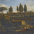 Rome A Terraced Garden Probably That Of The Villa Silvestri Rivaldi  by Attributed to Jan Frans van Bloemen