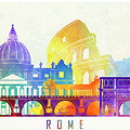 Rome Landmarks Watercolor Poster by Pablo Romero