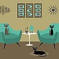 Room With Dark Aqua Chairs 2 by Donna Mibus