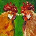 Rooster Face Off by Sandra Reeves