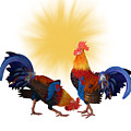 Roosters And Sun by Ericamaxine Price