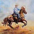 Roping Action by Leonie Bell
