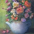 Rose Petal Tea Pot by Jan Harvey